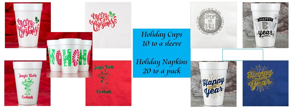 Christmas Cups, Christmas Napkins, Happy New Year Cups, Happy New Year Napkins, Merry Christmas Cups, Holiday cups